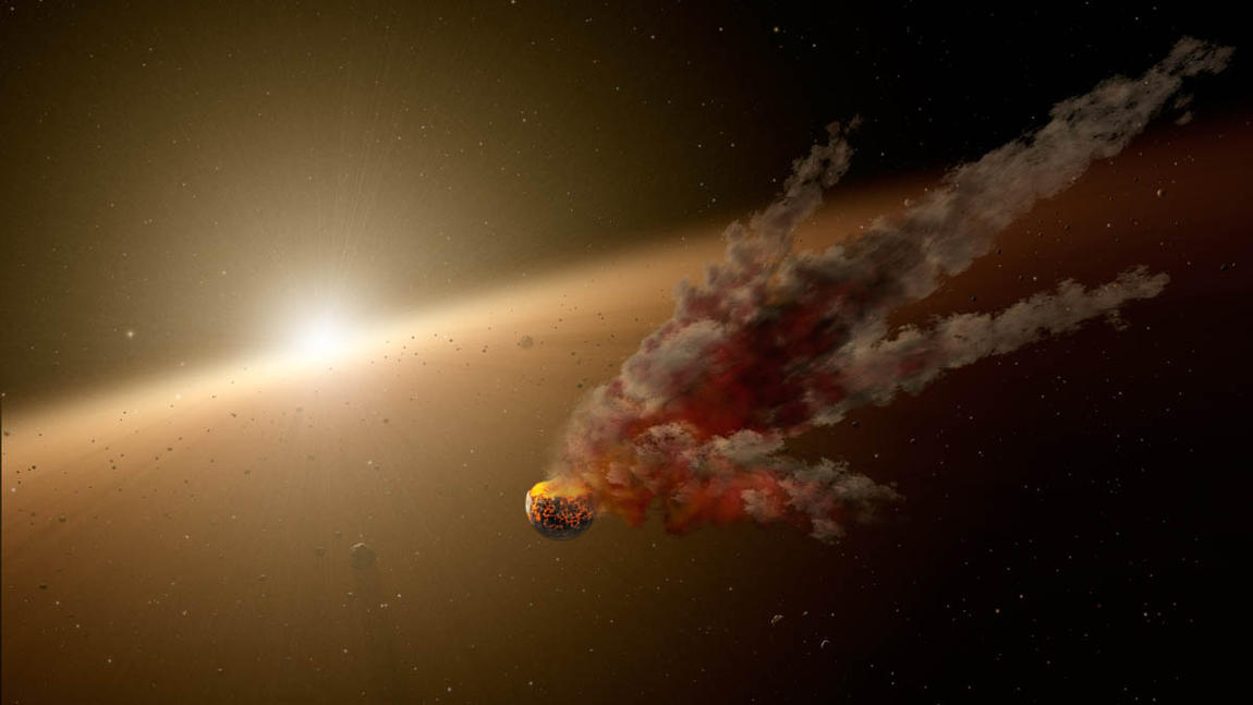 An artist's concept of the immediate aftermath of a large asteroid impact around NGC 2547-ID8, a 35-million-year-old sun-like star. (NASA / JPL-Caltech)