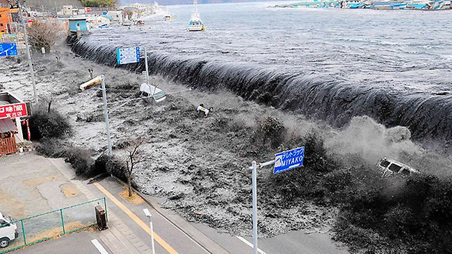 """The tsunami swamps Miyako on Friday, March 11. The coastal city was one of the worst hit along Japan's east coast."" Source: HWT Image Library"