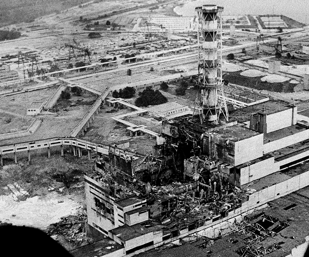 The 4th reactor at the Chernobyl nuclear power plant, post-explosion.