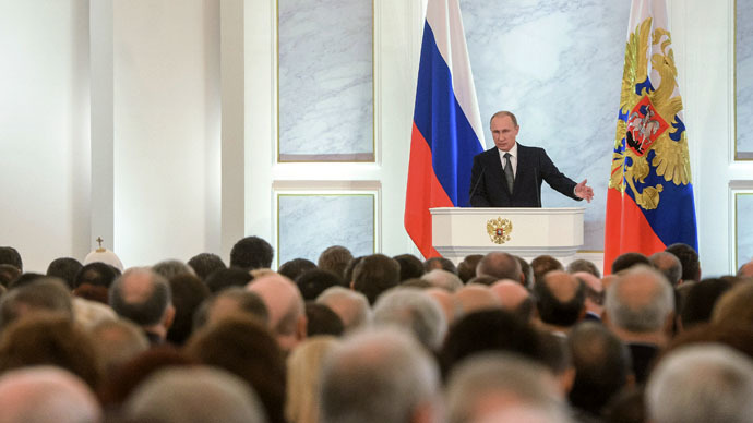 Russian President Vladimir Putin delivers the annual Presidential Address to the Federal Assembly in the Kremlin's St. George's Hall. (RIA Novosti/Grigoriy Sisoev)