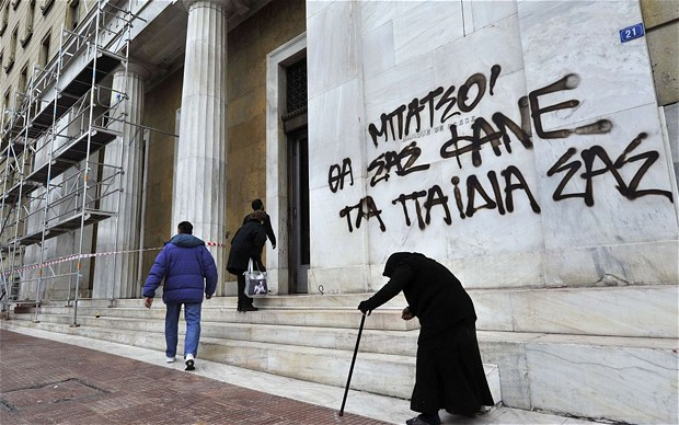 Greek graffiti expresses the national frustration with economic crisis.