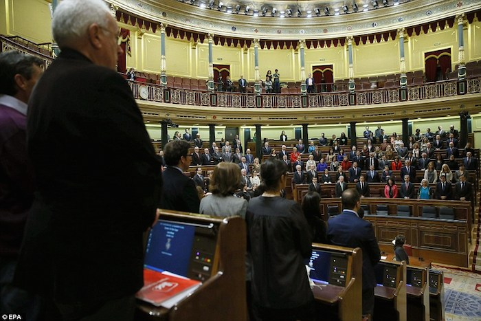 Members of the Lower Chamber of Spanish Parliament in Madrid yesterday observed a minute's silence for the victims of the crash