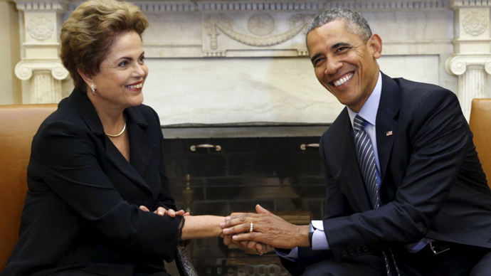 U.S. President Barack Obama (R) and Brazil's President Dilma Rousseff (Reuters / Kevin Lamarque)