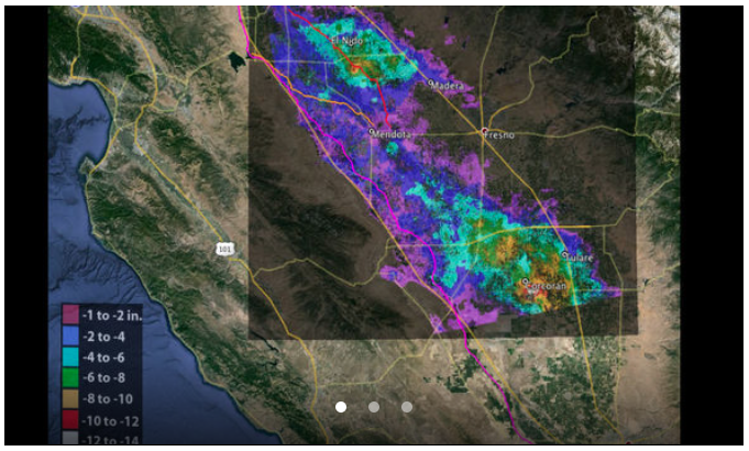 Total subsidence in California's San Joaquin Valley for the period May 3, 2014 to Jan. 22, 2015, as measured by Canada's Radarsat-2 satellite. Two large subsidence bowls are evident, centered on Corcoran and south of El Nido. Credit: Canadian Space Agency/NASA/JPL-Caltech