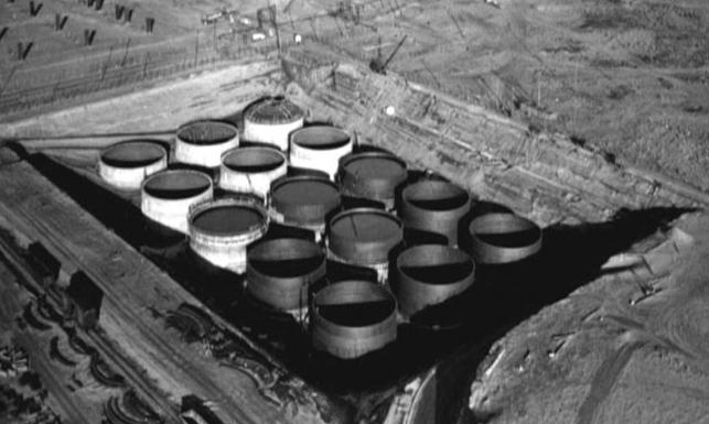Some of the older nuclear waste storage tanks at Hanford in southeast Washington.