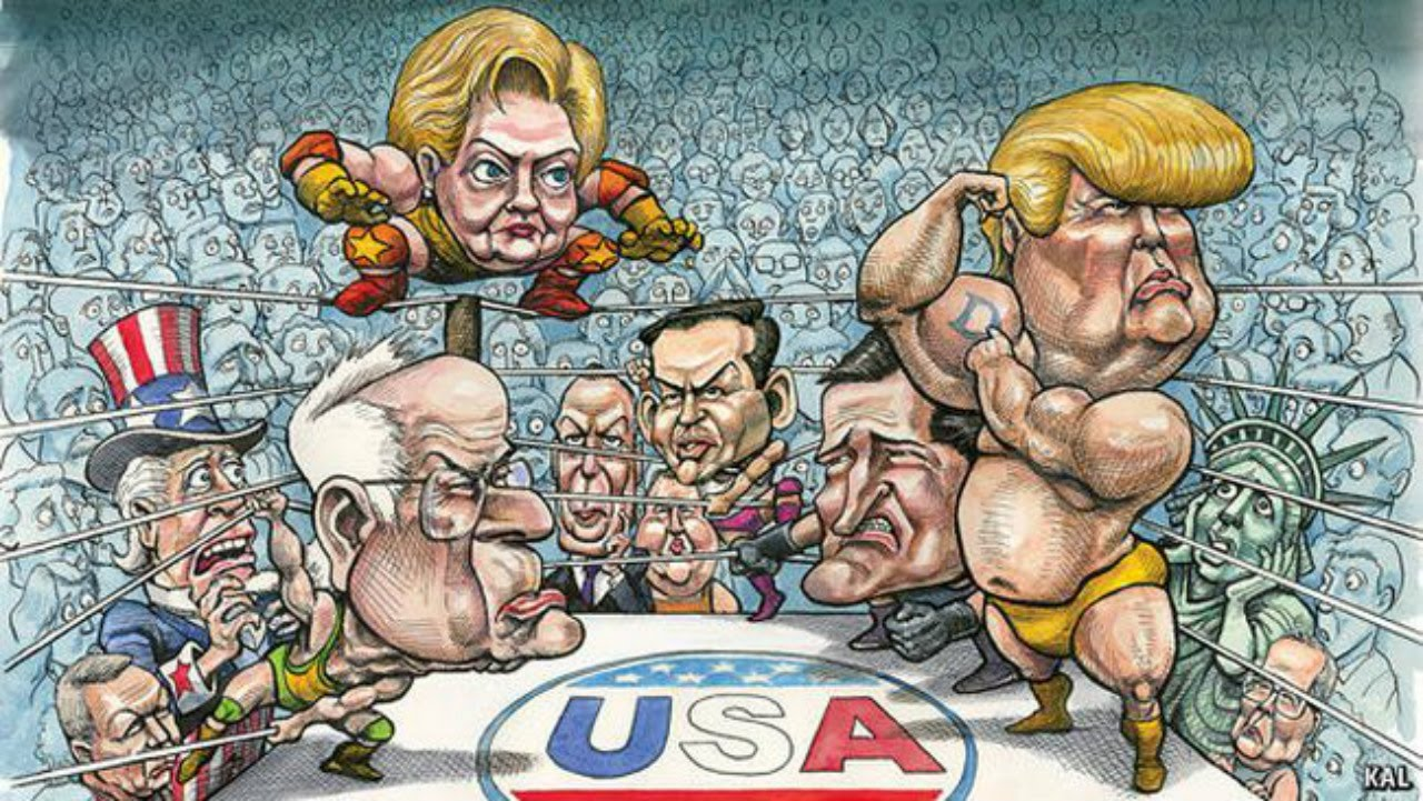 Image result for debate trump hillary cartoon