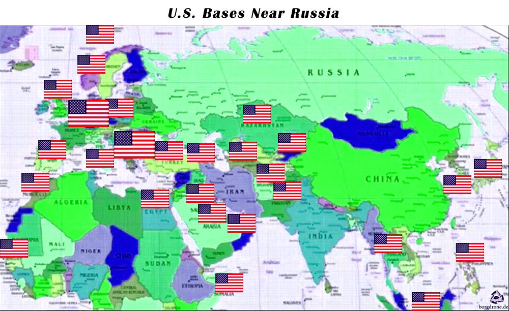 Vladimir putin publish a world map and mark all the us military vladimir putin publish a world map and mark all the us military bases on it you will see the difference between russia and the us gumiabroncs Gallery